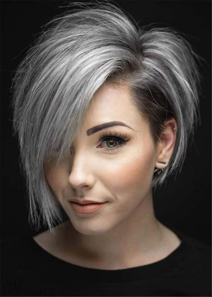 Flattering Short Cut One side Parted Synthetic Hair Straight Wig from WigsBuy.