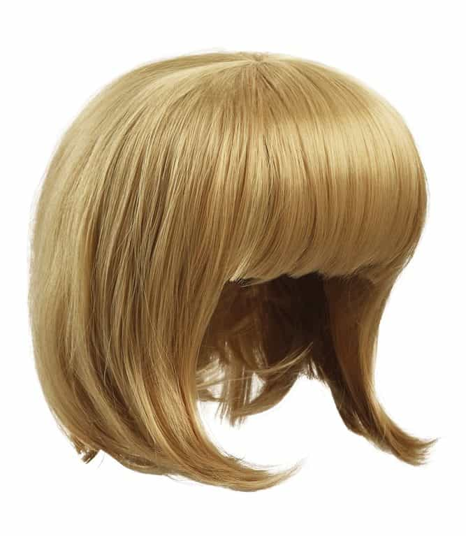 Natural-looking light blonde wig in short blunt bob with bangs