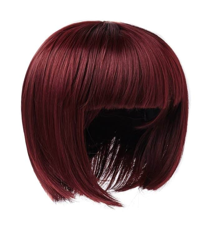 Short blunt bob wig in red shade.