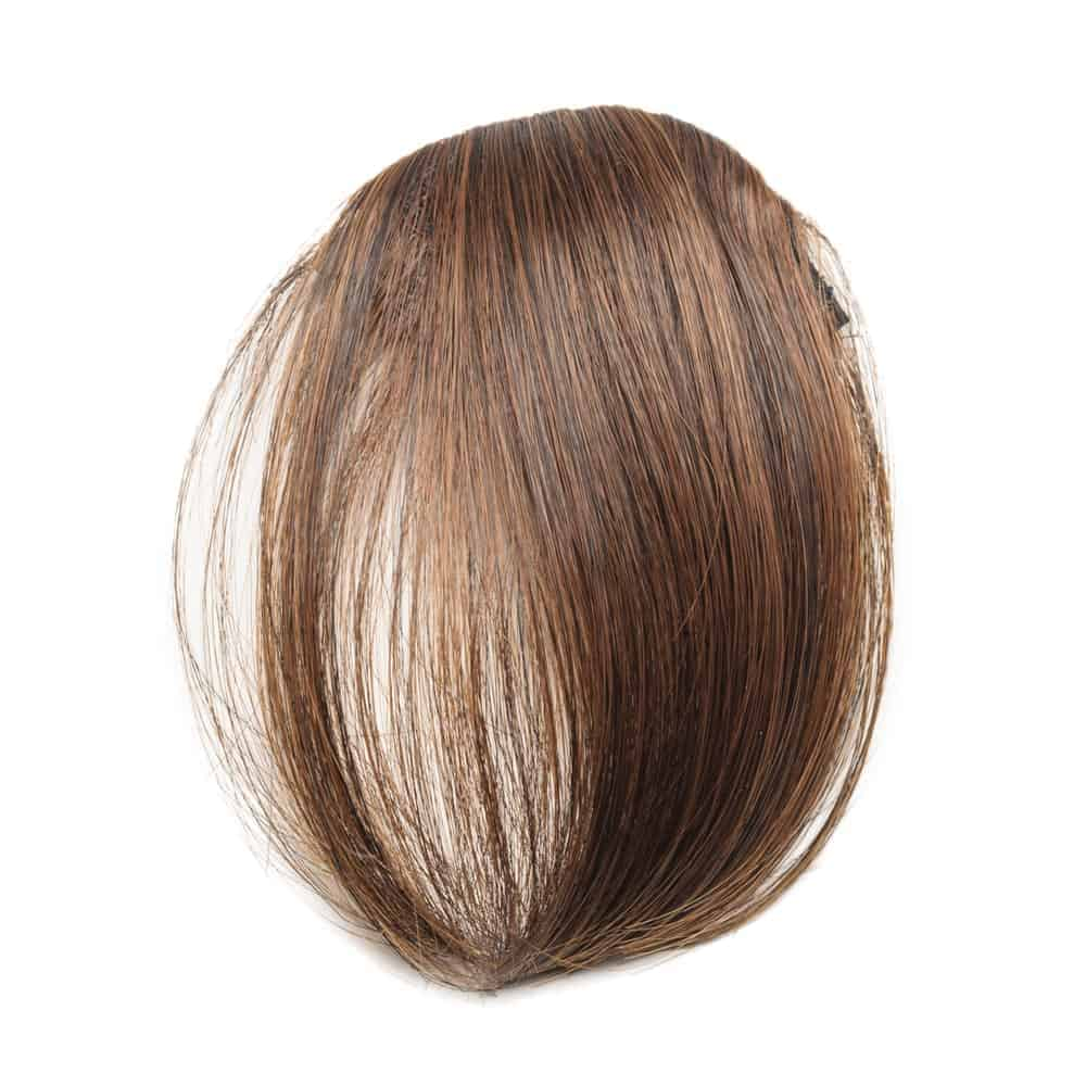 Clip-in straight brown synthetic fringe hair extensions