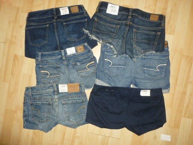 Pairs of denim booty shorts.