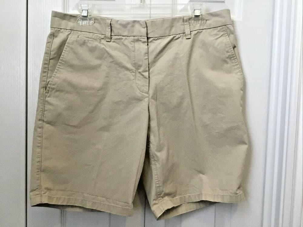 A close look at a pair of khaki boyfriend shorts from ebay.