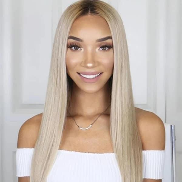 FUHSI® Kanekalon Fiber Two Tone Lace Front Synthetic Straight Wig