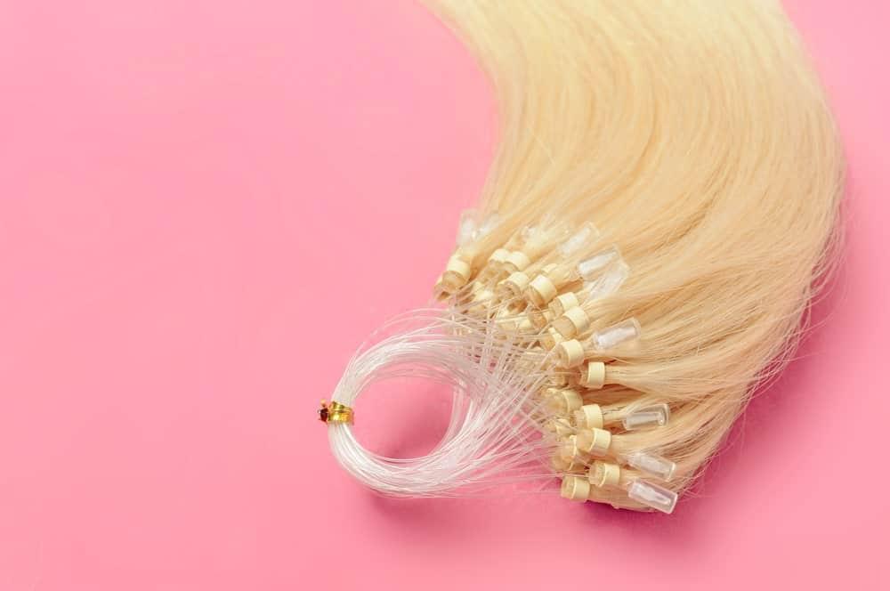 Micro loop ring beads straight blonde human hair extensions