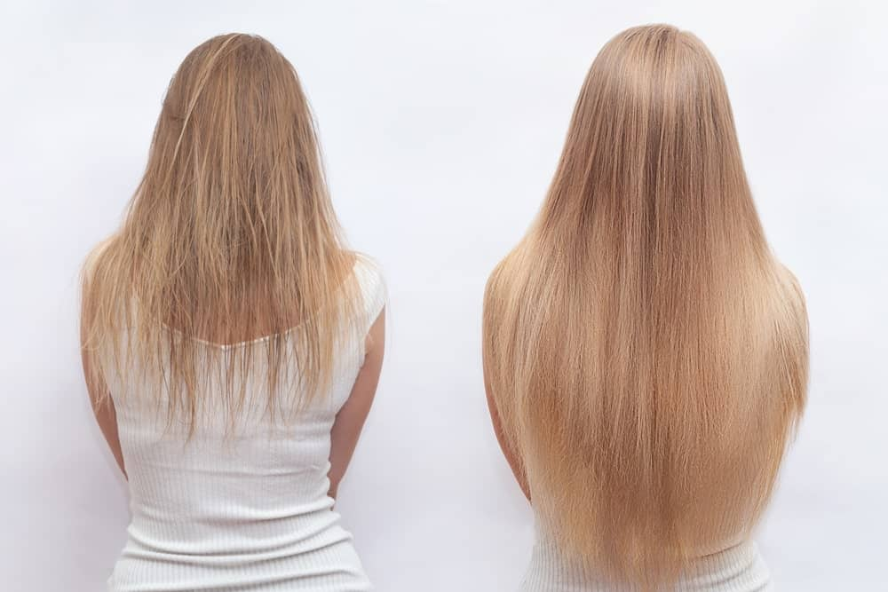 Back profile of a woman with before and after hair extension.