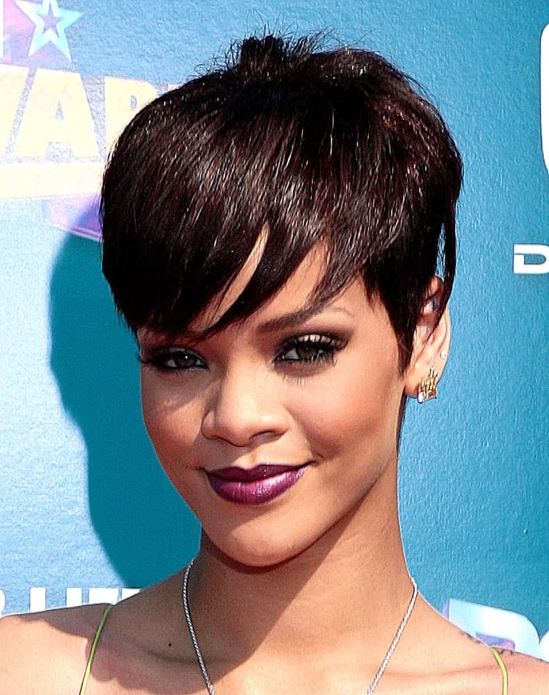 Rihanna wearing a tapered pixie cut with bangs during awards night.