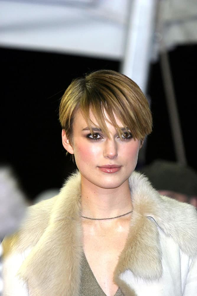 Keira Knightly during Sundance festival wearing a pixie with bangs.