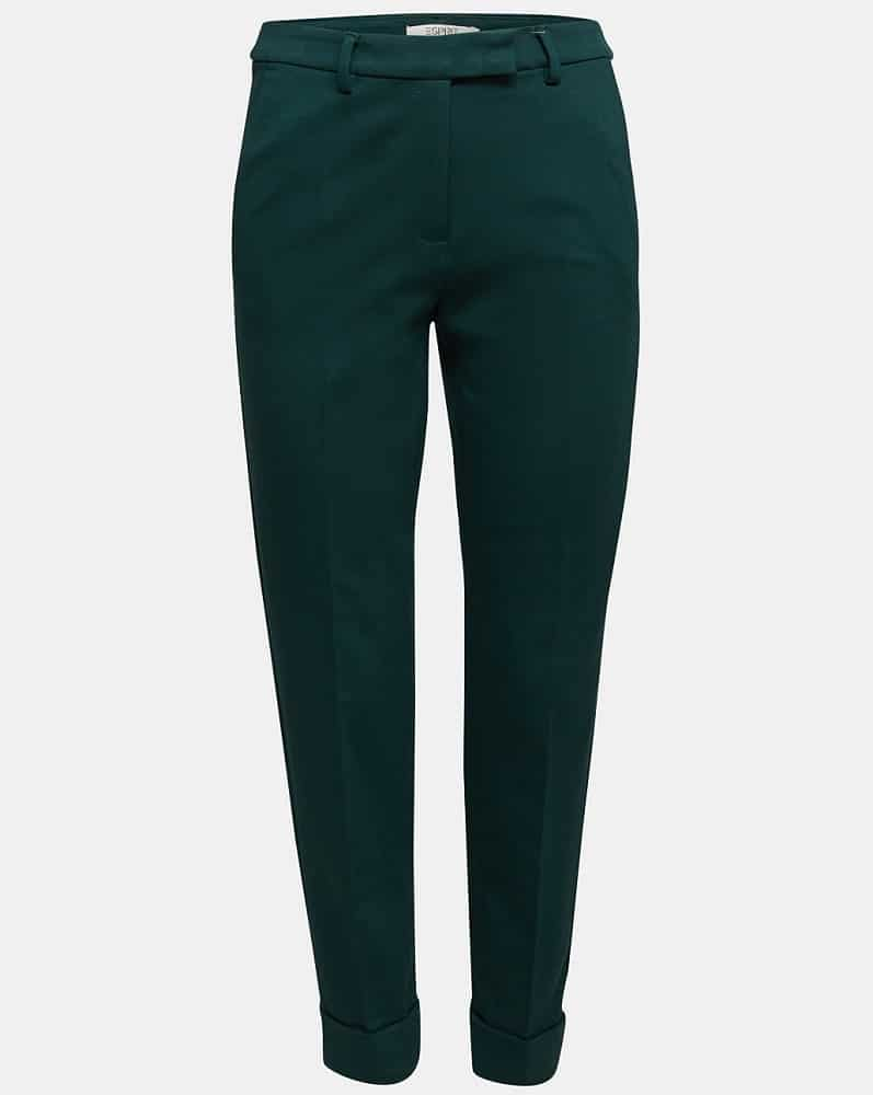A close look at a pair of green punto chinos.