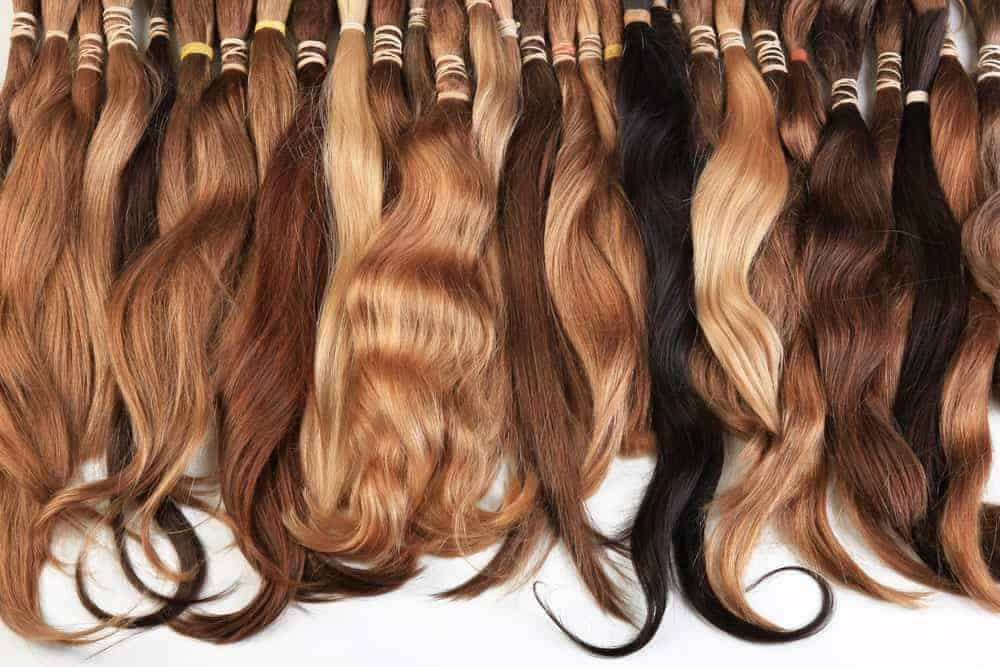 Hair extensions of various colors.