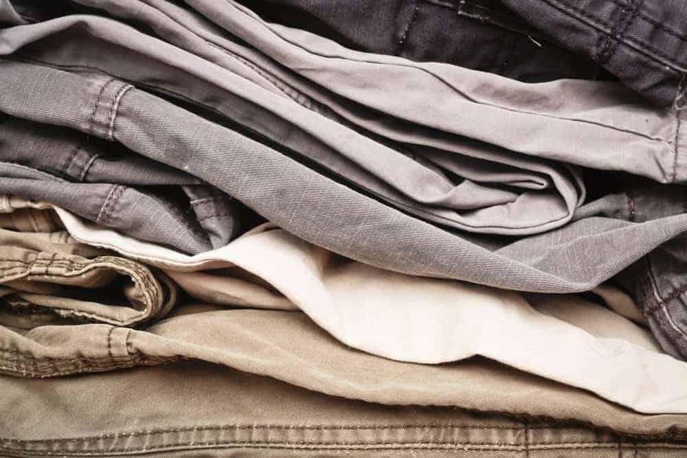 A close look at pairs of khaki pants.