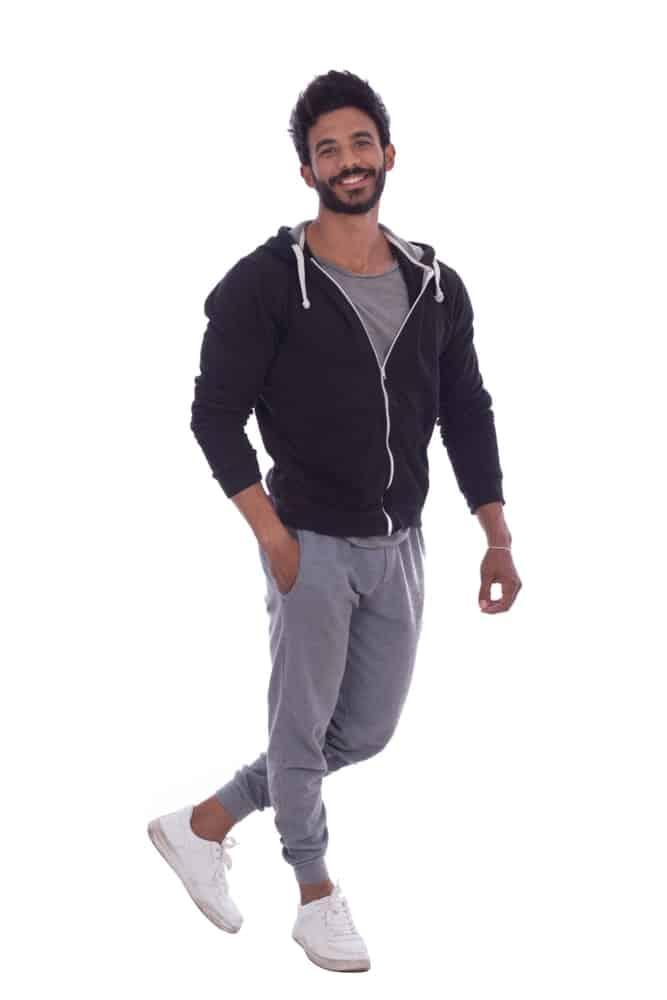 A close look at a man wearing sweatpants.