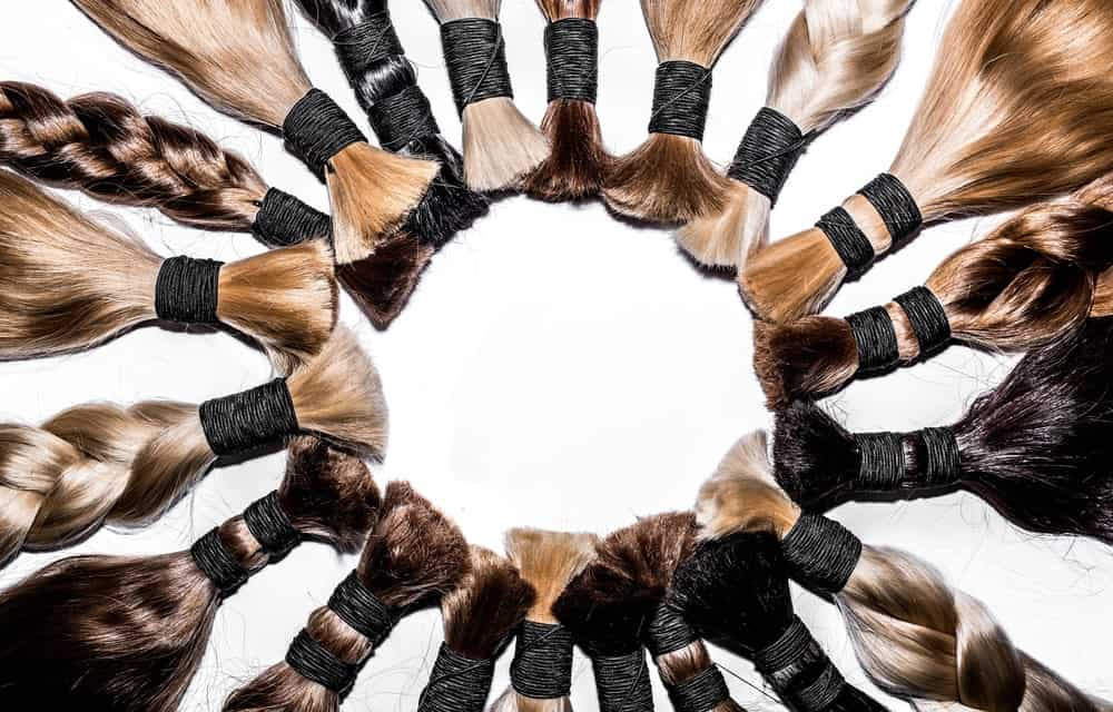 A look at a variety of hair extension in different colors and styles.