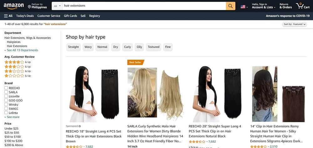 This is a screenshot of the Amazon website.