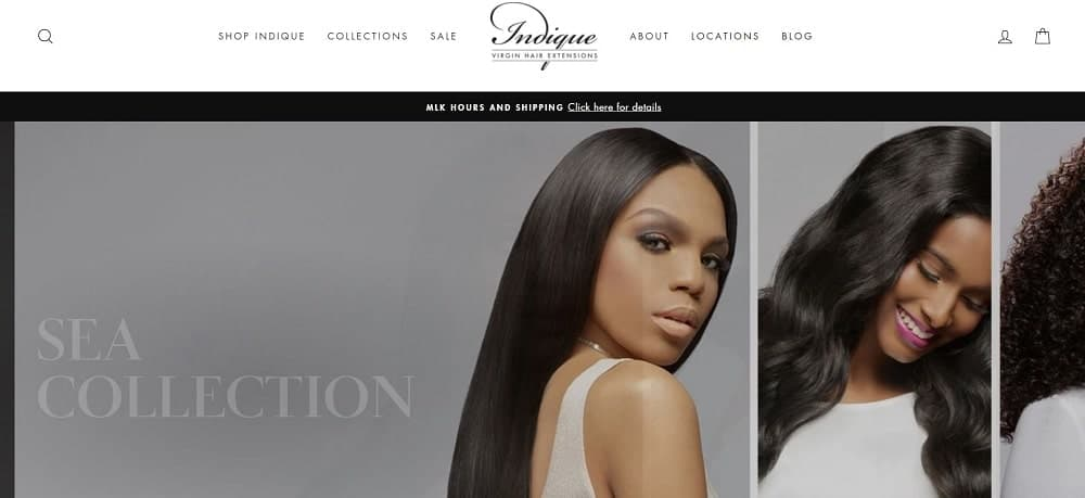 This is a screenshot of the Indique website.