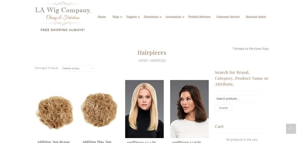 This is a screenshot of the LA Wig Company website.
