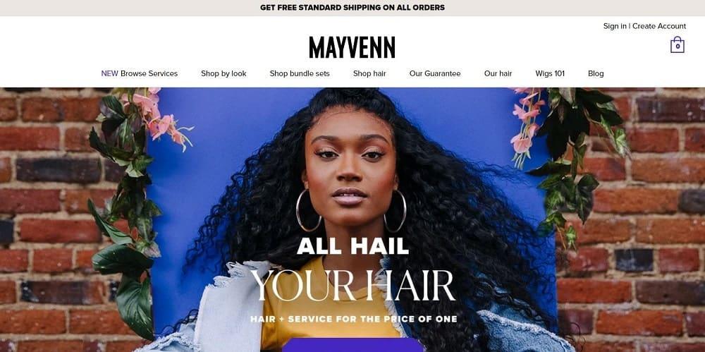 This is a screenshot of the Mayvenn website.