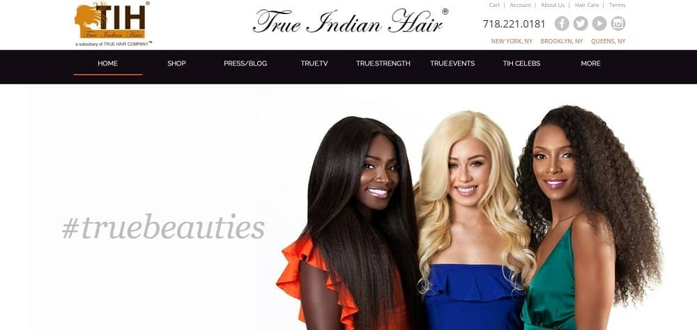 This is a screenshot of the True Indian Hair website.