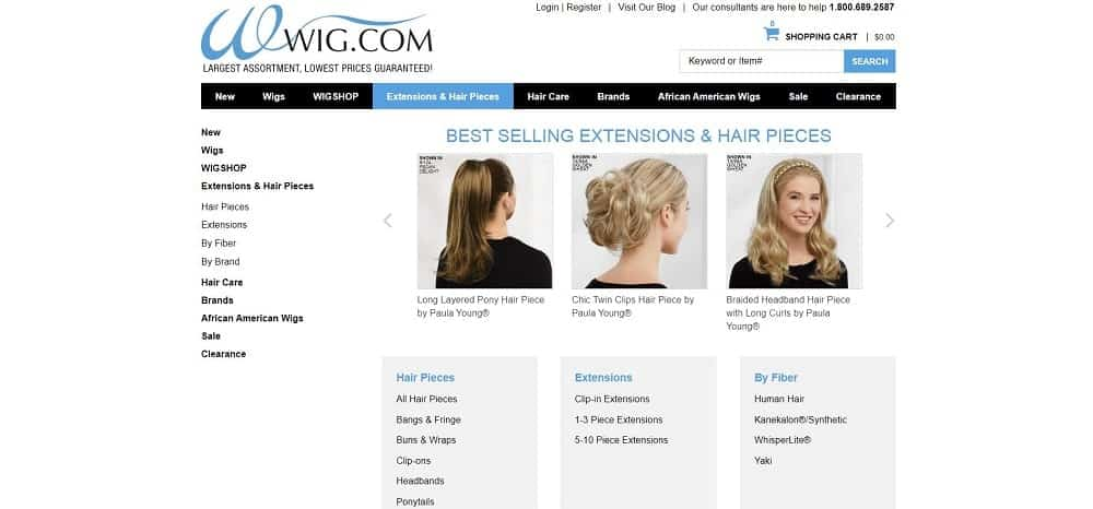 This is a screenshot of the Wig website.