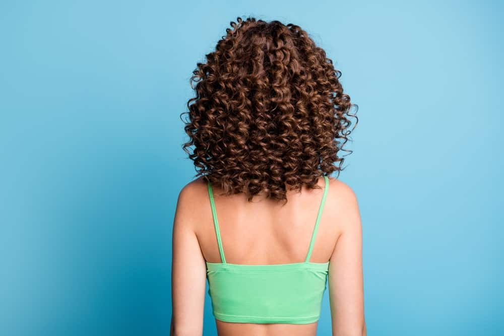 A woman seen from behind wearing a big curly wig.