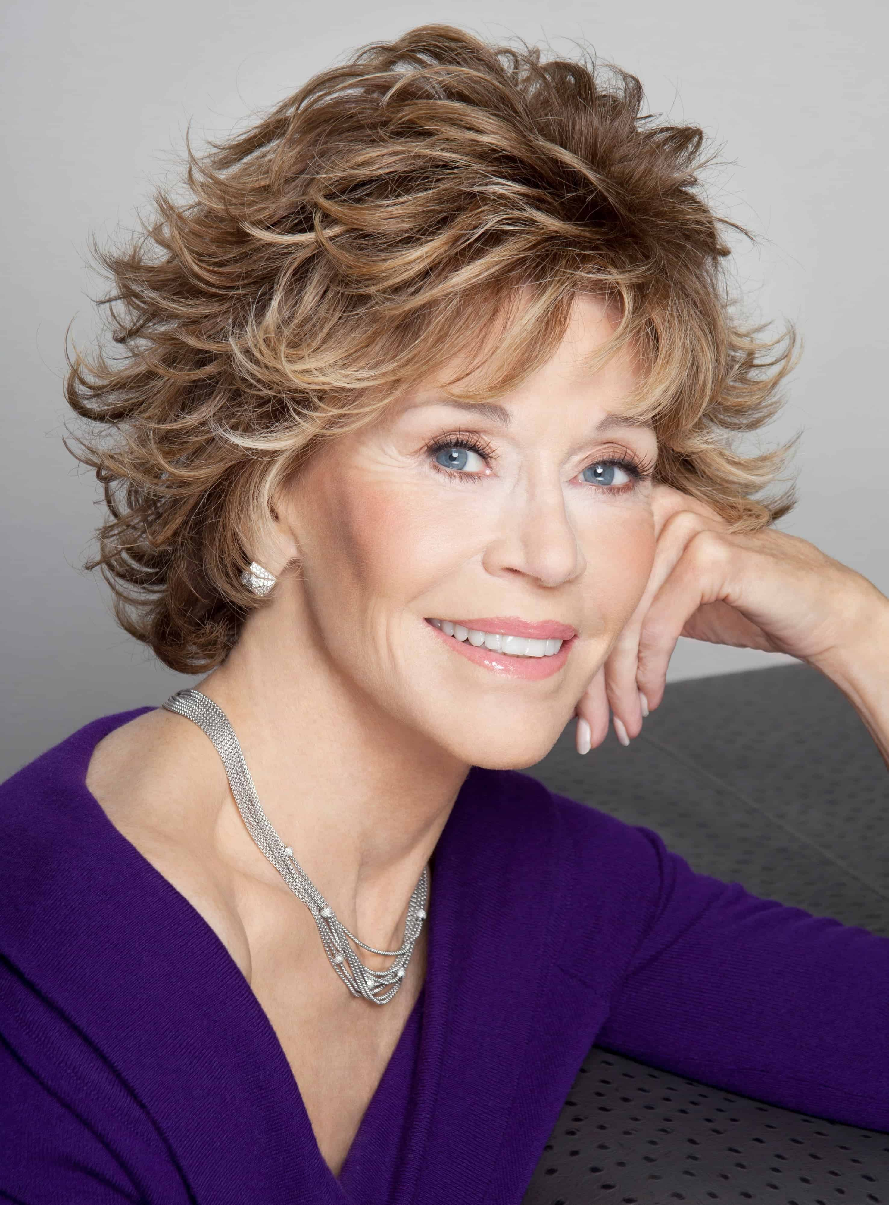 Jane Fonda Haircut Wavy Layered Synthetic Hair Capless Wigs 8 Inches