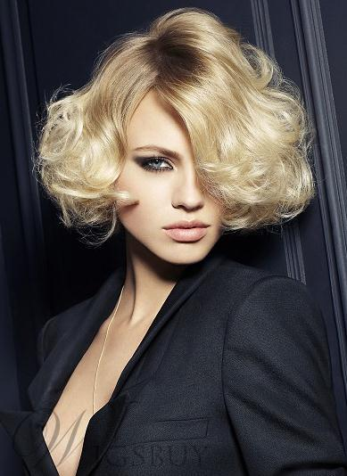 Office Lady Top Quality Sexy Soft Short Wavy Capless Wig