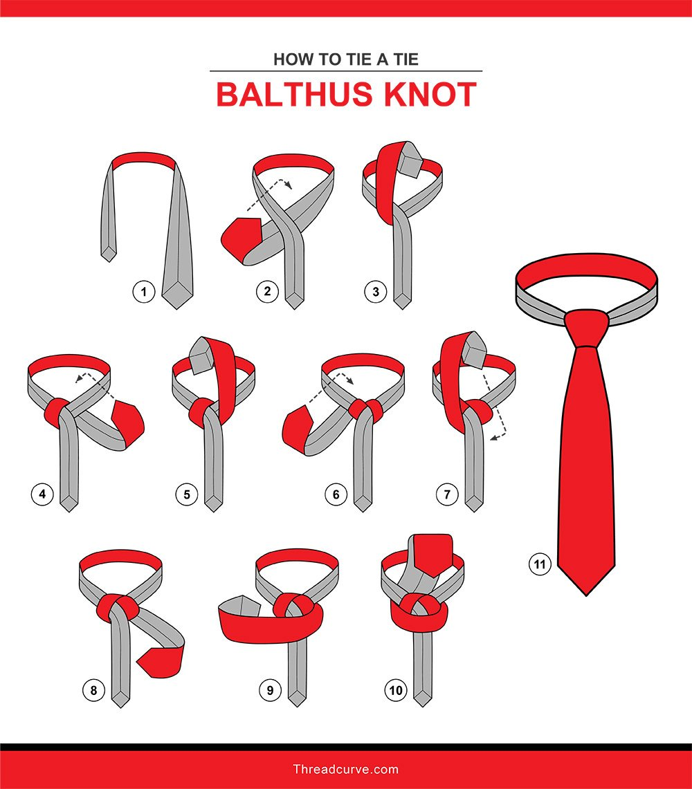 How to tie a Balthus tie knot illustration