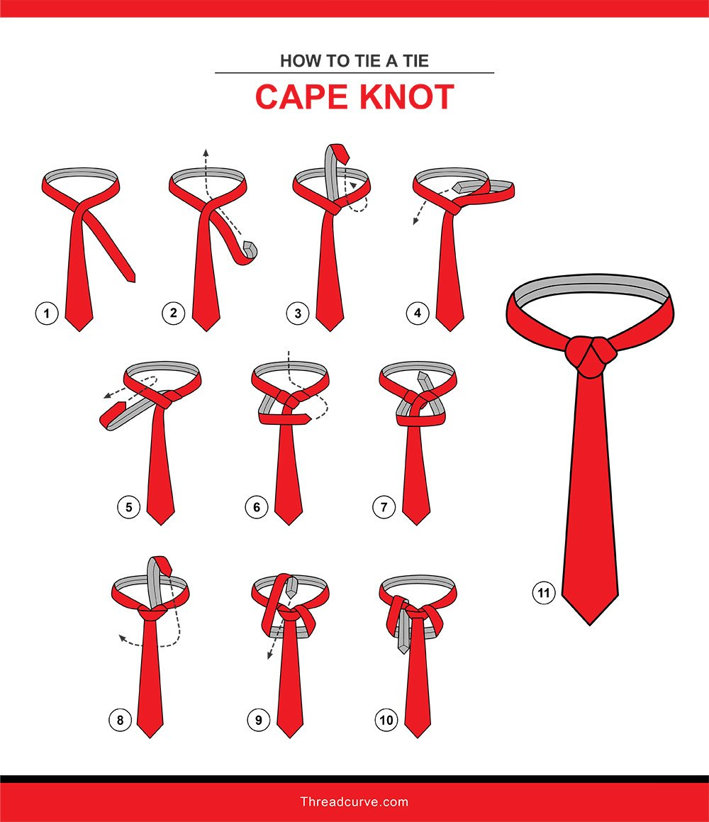 How to tie a cape knot tie knot (illustration)