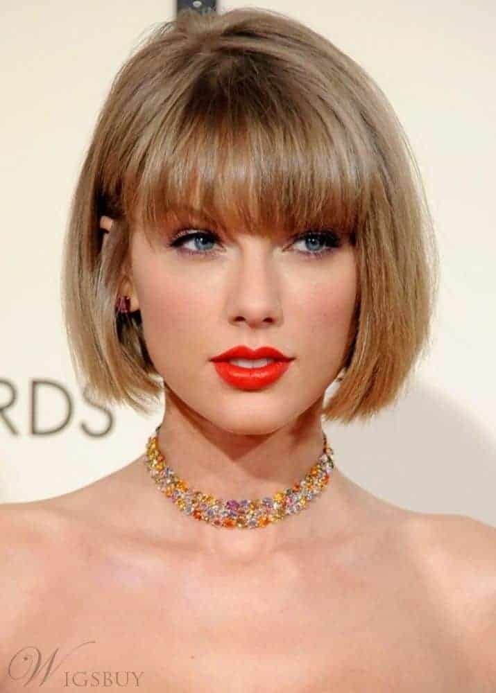Taylor Swift Bob Style Straight Human Hair Capless Wigs from WigsBuy.