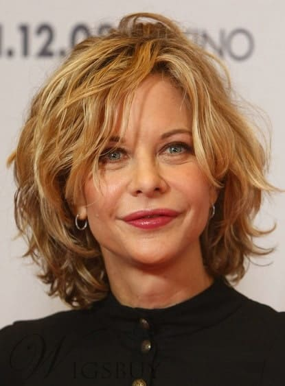Messy Short Layered Wavy Human Hair Full Lace Wig from WigsBuy.