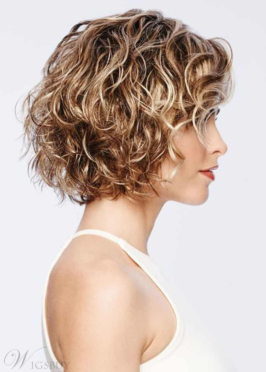 Short Curly Hairstyles Women's Blonde Color Lace Front Cap Wigs 100% Human Hair Wig