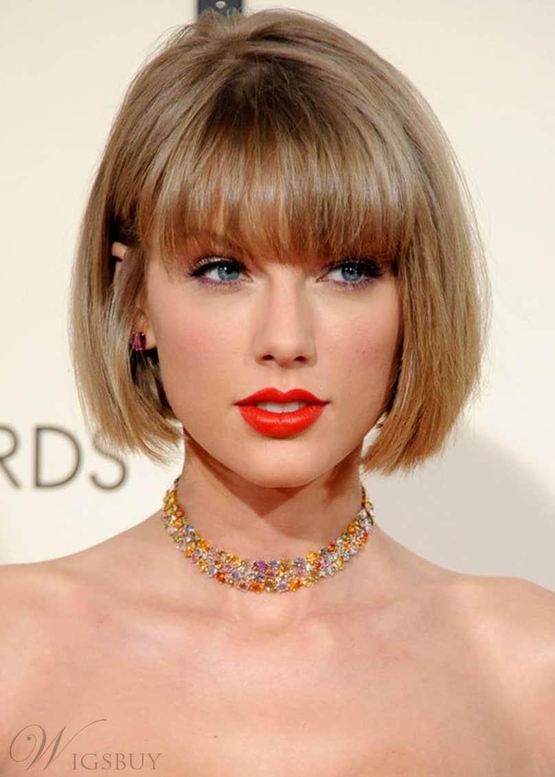 Taylor Swift Bob Style Straight Human Hair Capless Wig