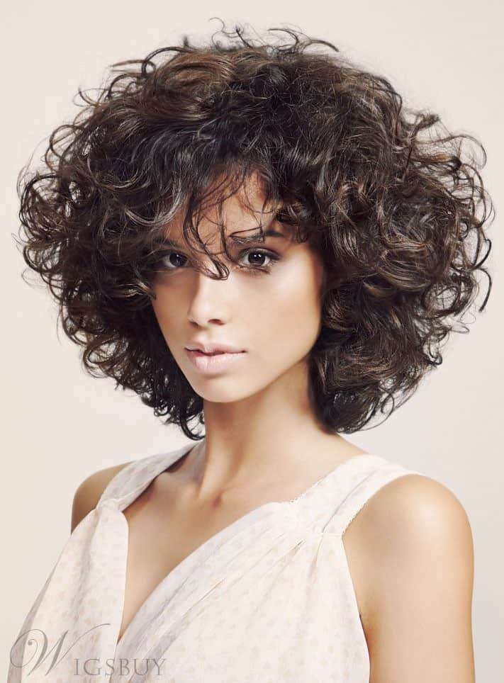 Fluffy Medium Curly Bob Hairstyle from WigsBuy.