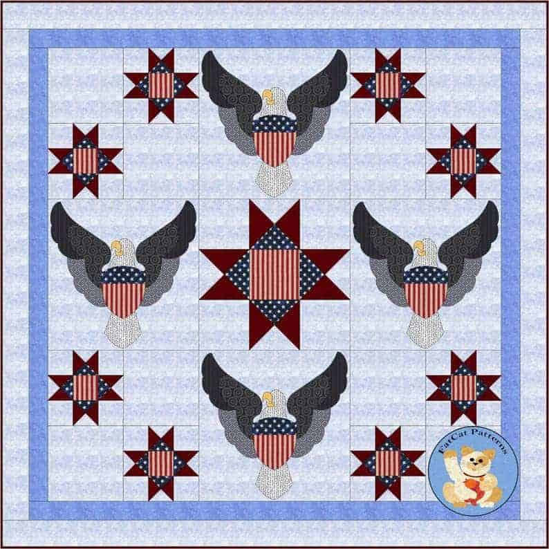 A look at the pattern of an American Valor quilt from Etsy.
