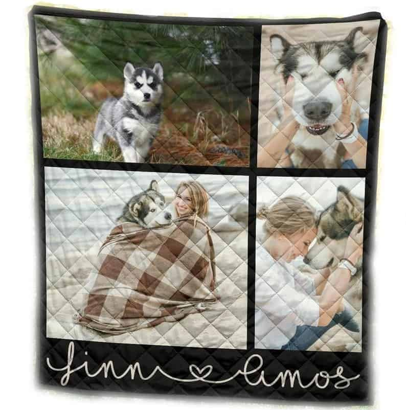 A custom memory quilt with photos from Etsy.