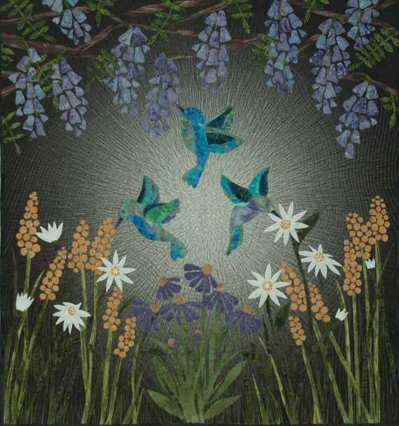 A hummingbird garden wall quilt from Etsy.