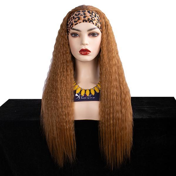 Kinky straight hair synthetic headband wig from Fuhsiwigs.