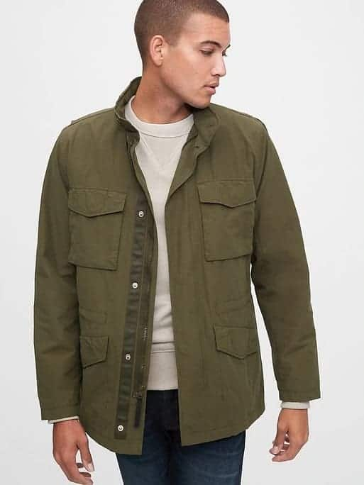 Man wearing a military jacket.