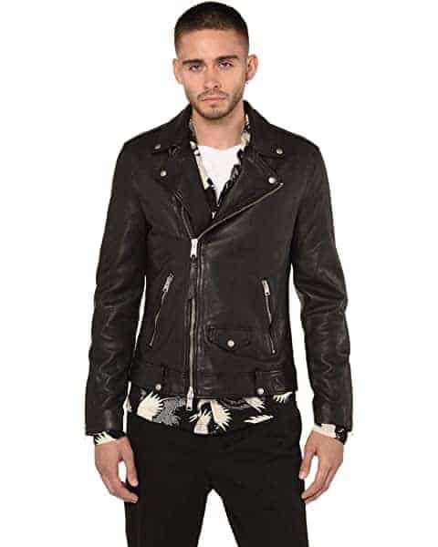 Man wearing a motorcycle jacket.