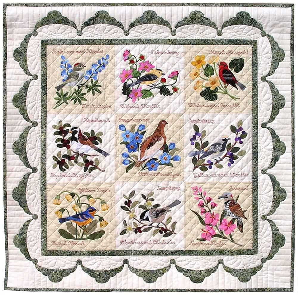 A close look at a colorful presentation forget-me-not quilt from P3Designs.