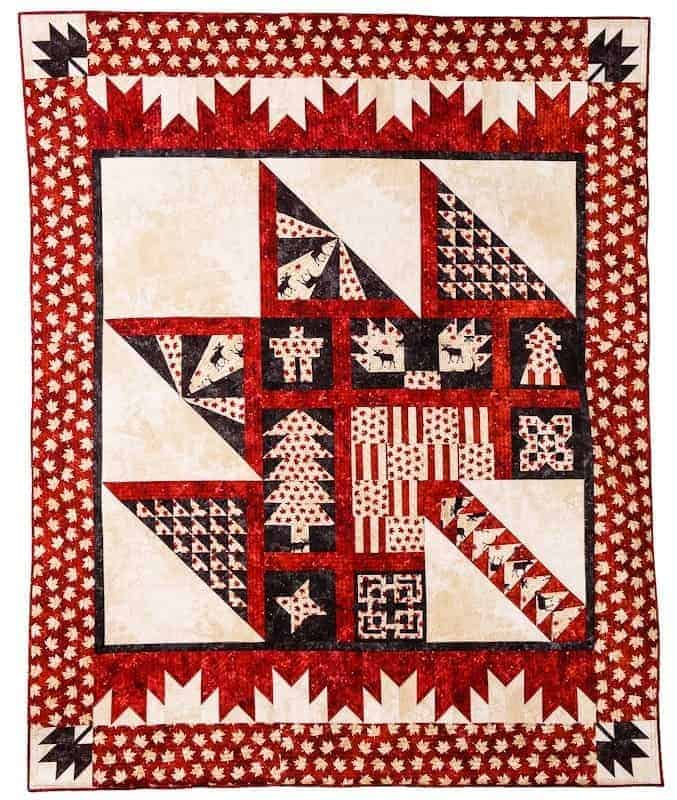 A colorful Canadian Sesquicentennial Quilt from Quilts by Jen.