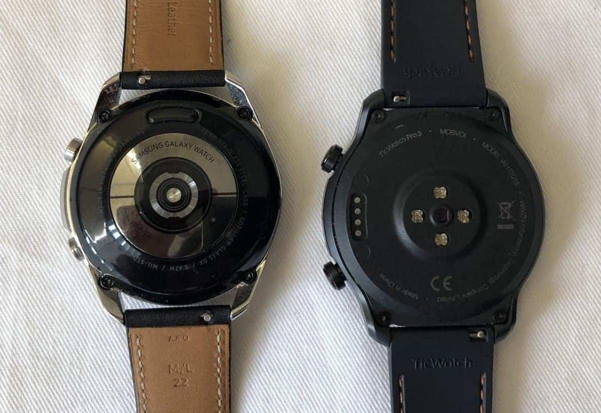 samsung galaxy watch 3 vs ticwatch pro 3  rear