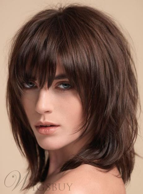 Layered Shag Hairstyle with Full Fringe from Wigsbuy.
