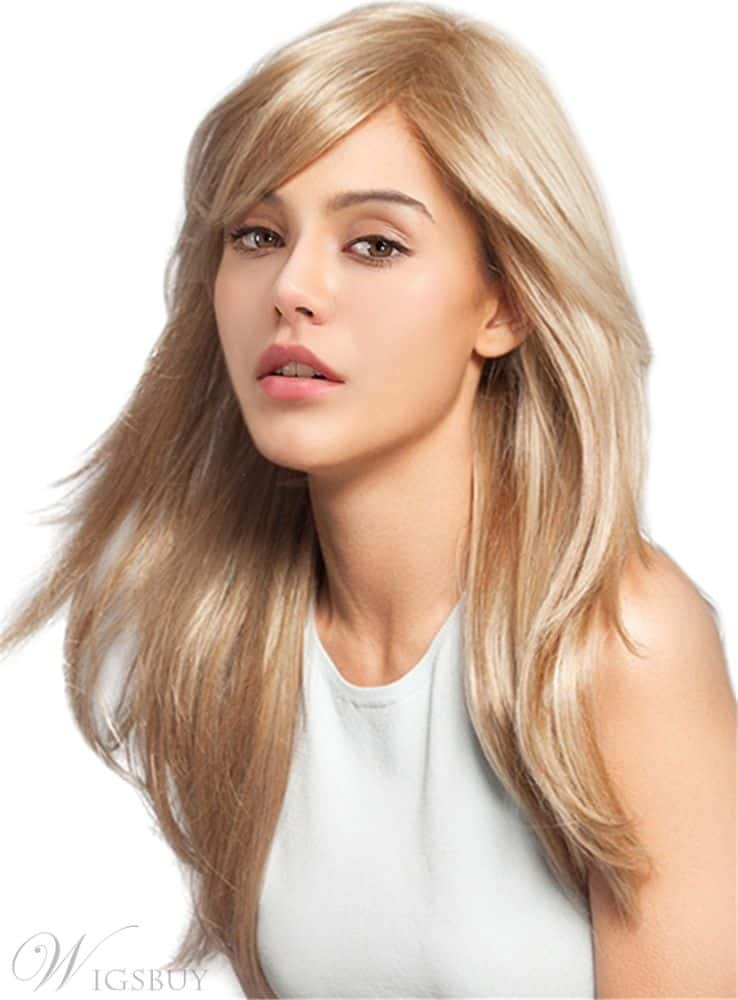 Long Straight Side Fringe Human Hair from WigsBuy.