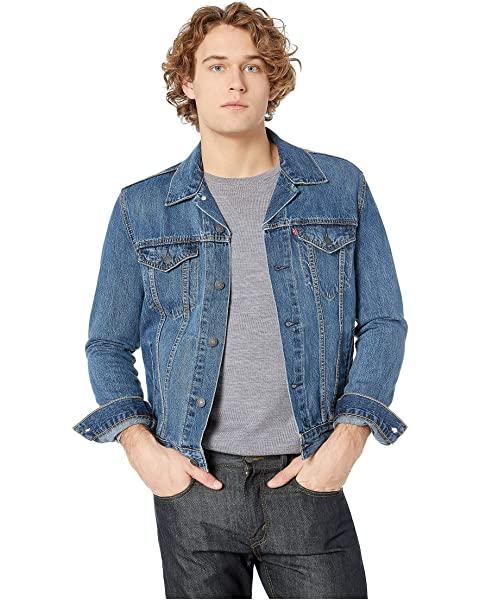 Man wearing trucker jacket.