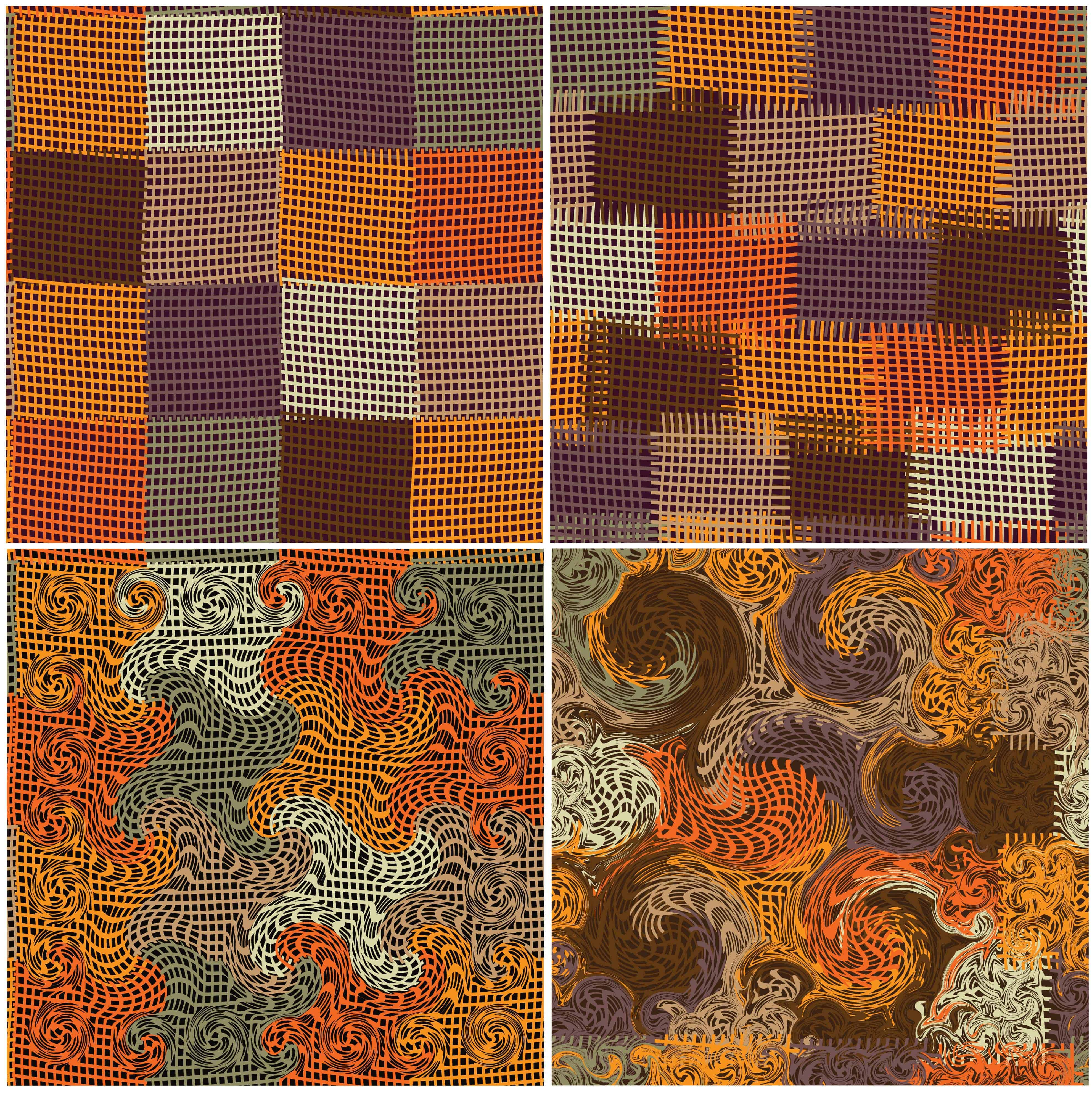 A look at the patterns of a four patch quilt.