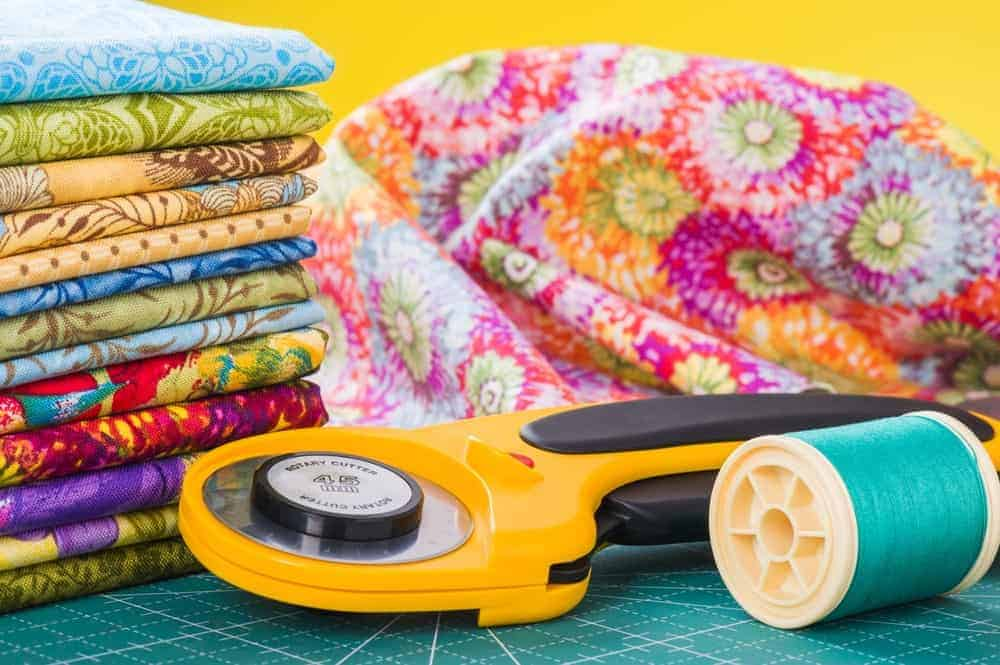 Quilts and the tools for making them.