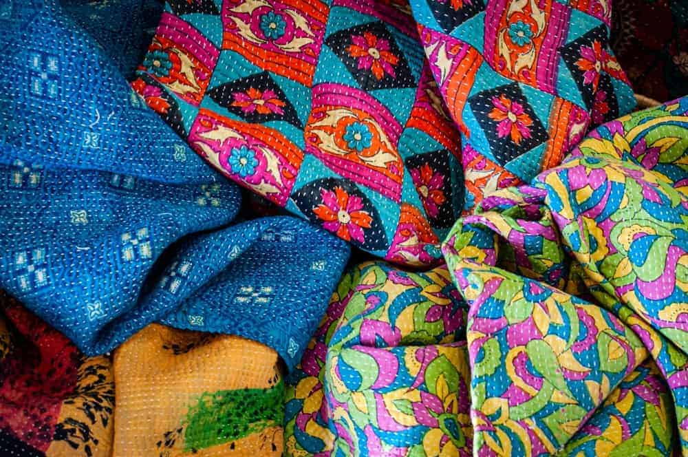 A close look at Indian kantha quilts.