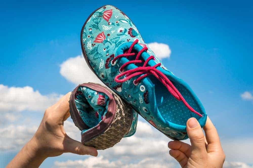 This is a close look at a couple of colorful running shoes.