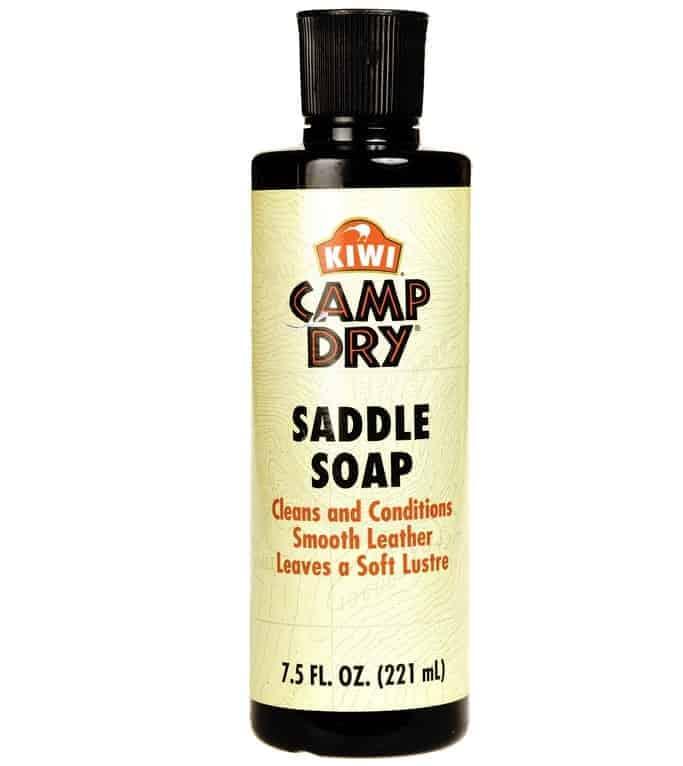 A bottle of Kiwi Dry Camp Saddle Soap.
