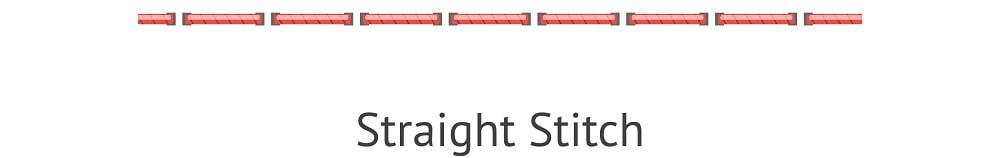 An illustrative representation of the straight stitch.